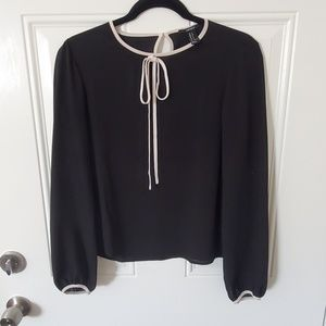 Black forever21 keyhole blouse with white neck tie